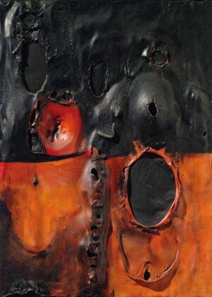 Alberto Burri, Rosso Combustione Plastica, 1957 - courtesy Christie's