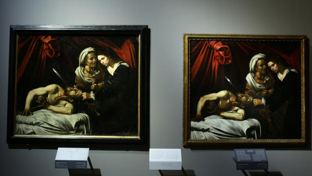 Confronto tra la Giuditta attribuita a Caravaggio (a sinistra) e quella attribuita a Louis Finson