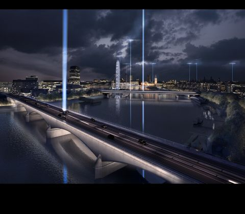 Diller Scofidio + Renfro, Synchronizing the City, Waterloo Bridge - Saluting the night (c) Malcolm Reading Consultants and Diller Scofidio + Renfro