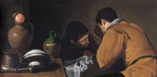 Diego Velázquez, Due giovani uomini mangiano a un'umile tavola, 1622 - Apsley House, The Wellington Museum, Londra
