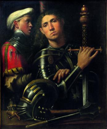Giorgione, Ritratto di guerriero con scudiero detto Gattamelata, 1501 ca., Olio su tela, Firenze, Galleria degli Uffizi