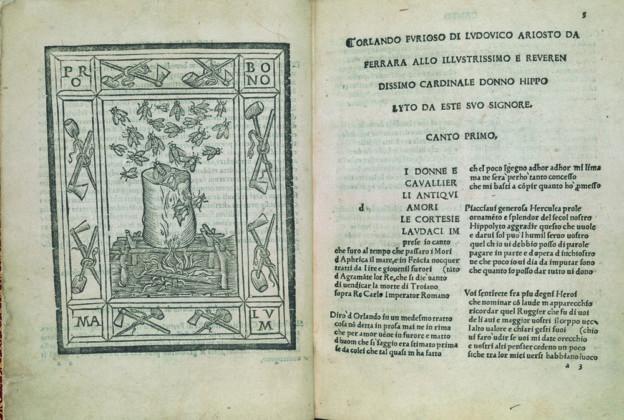 Ludovico Ariosto, Orlando furioso, Ferrara, Giovanni Mazzocchi, 22 aprile 1516. 4°, Londra, The British Library