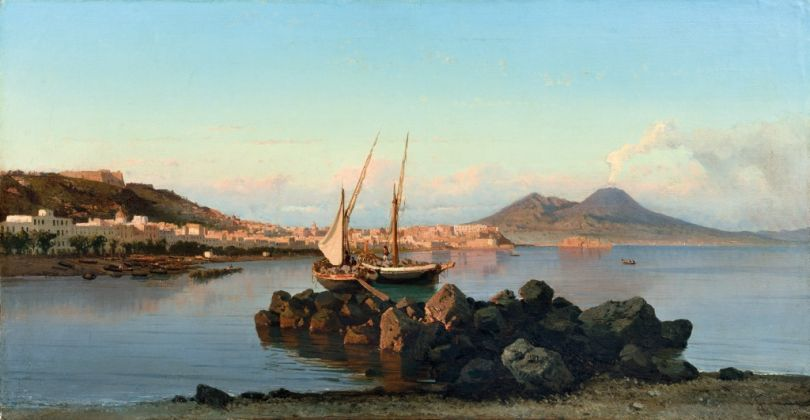 Alessandro La Volpe, Scena di pesca nel Golfo di Napoli, 1866, collezione privata