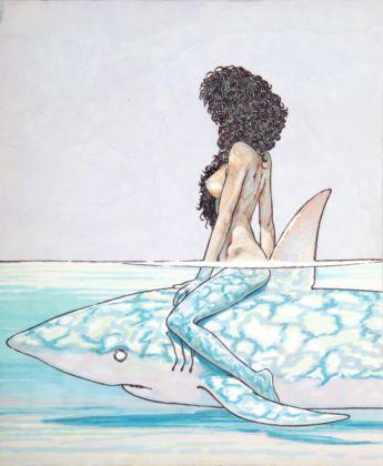 Andrea Pazienza, Betta sullo squalo, 1981 - Collezione Elisabetta Pellerano - photo Paolo Righi, Meridiana Immagine