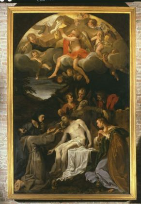Annibale Carracci, Compianto su Cristo morto con i ss. Francesco, Chiara, Maria Maddalena e angeli, 1585 - Parma, Chiesa dei Cappuccini