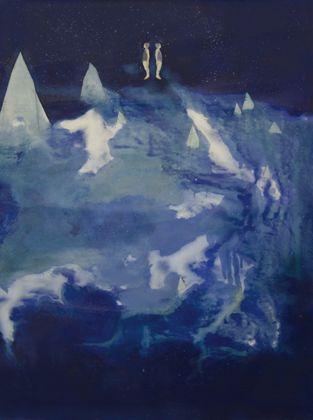 Elisa Bertaglia, Out of the Blue, 2016, olio e pastelli su carta, 102x76 cm