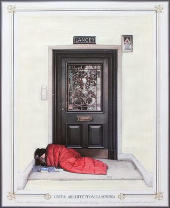 Eugenio Tibaldi, Architettura Minima 59, acrilico bianco su stampa fotografica, Palazzo Caracciolo, Napoli 2016. Foto di Amedeo Benestante