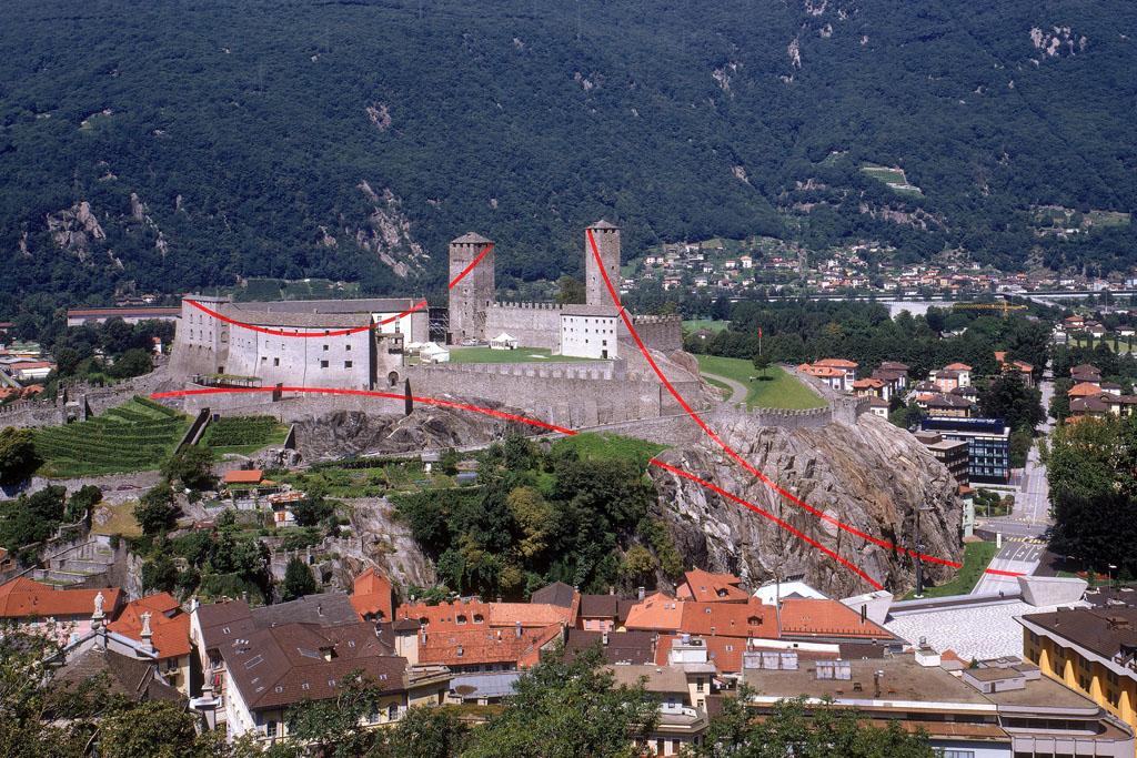 Felice Varini, Segni, 2001 - Monte San Michele e Castelgrande