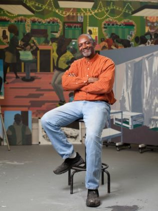 Kerry James Marshall in Studio - photo Kendall Karmanian
