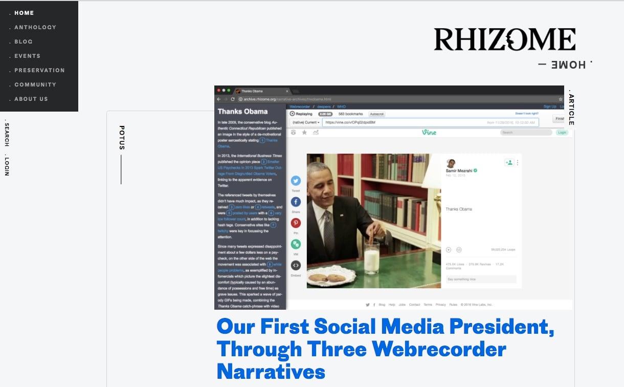 La homepage di Rhizome.org