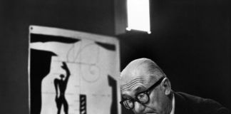 "Le Corbusier and his ""Modulor"" in his office, 35 rue de Sèvres. Paris, France, 1959 © René Burri / Magnum Photos"