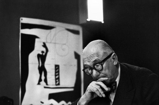 """Le Corbusier and his """"Modulor"""" in his office, 35 rue de Sèvres. Paris, France, 1959 © René Burri / Magnum Photos"""