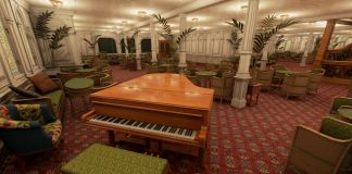 Lo Steinway Model B, uno dei sei pianoforti a bordo del Titanic. Courtesy Vintage Digital Revival LLC