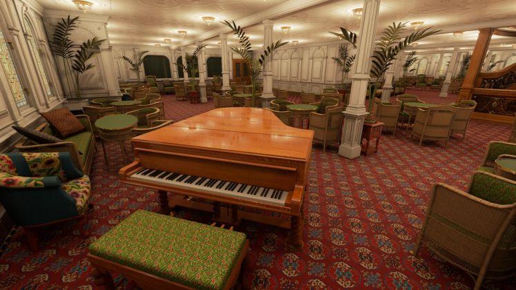 Lo Steinway Model B, uno dei sei pianoforti a bordo del Titanic. Courtesy Vintage Digital Revival LLC