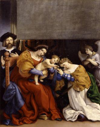 Lorenzo Lotto, Nozze mistiche di Santa Caterina d'Alessandria e il committente Niccolò Bonghi, 1523 - Bergamo, Accademia Carrara