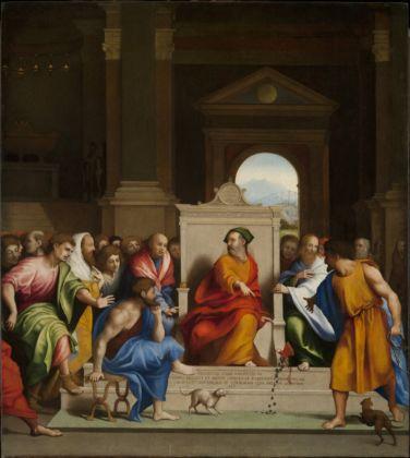 Lorenzo Lotto (_), Giuda restituisce i denari, 1525-30 - Milano, collezione privata