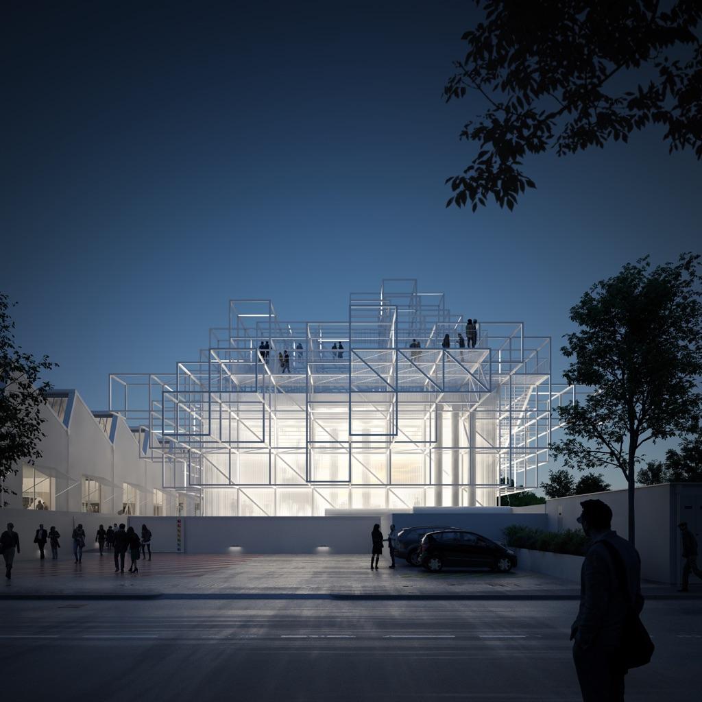 Mario Cucinella Architects, Centro Arti e Scienza Golinelli, Bologna, Render night © Engram Studio