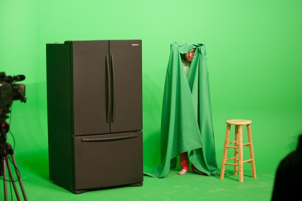 Mark Leckey, GreenScreenRefrigeratorAction, 2010. Performance at Gavin Brown's enterprise, New York 2010