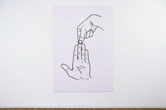 Mattia Pajè, cervello, 2016 - smalto su tela, 220x150 cm