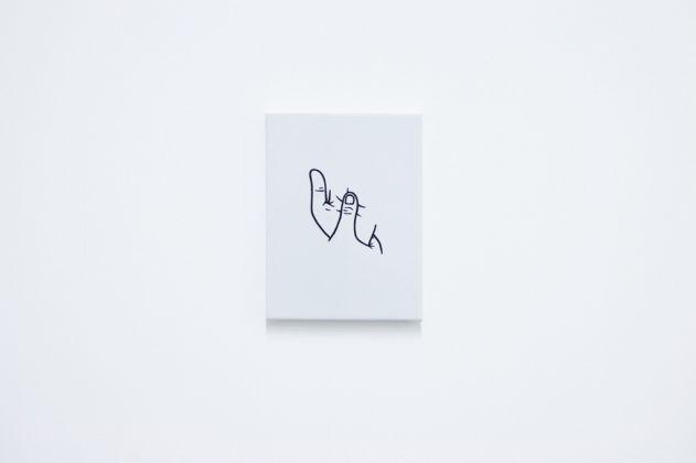 Mattia Pajè, plesso solare, 2016 - smalto su tela, 18x25 cm