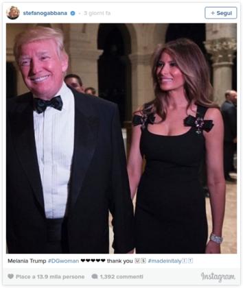 Melania Trump vestita D&G nel post su Instagram