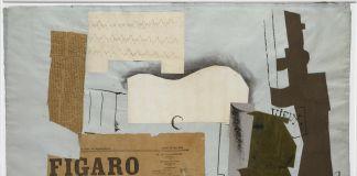 Pablo Picasso, Bottiglia di Vieux Marc, bicchiere, chitarra e giornale, 1913
