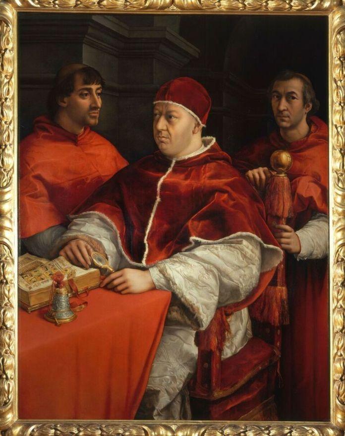 Raffaello Sanzio, Ritratto di Papa Leone X, 1515-16. Firenze, Galleria degli Uffizi