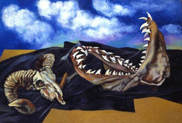 Renato Guttuso Bucranio, mandibola di pescecane e drappo nero contro il cielo, 1984