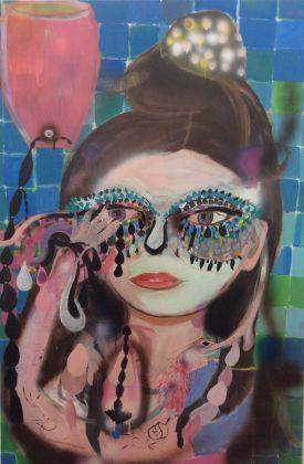 Silvia Argiolas, Artista sadica, 2016, tecnica mista su tela, cm 150x100
