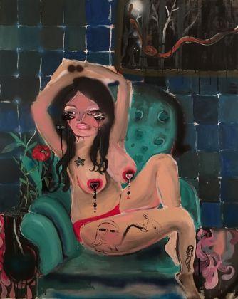Silvia Argiolas, Ragazza con vaso, 2016, tecnica mista su tela, cm 150 x 120