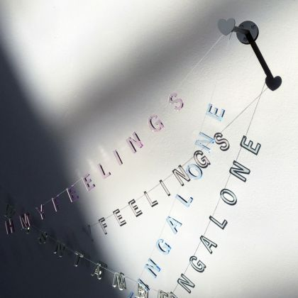 Simone Monsi, Transparent word banner (I am sometimes not in touch with my feelings), 2016 (detail), Courtesy the artist