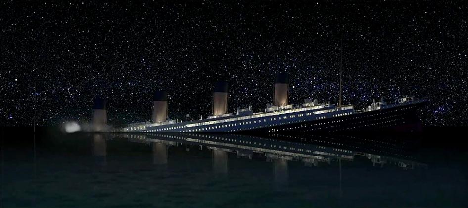 Titanic Sinks. Real Time. Still da film