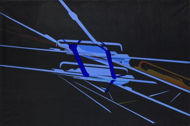 Titina Maselli, 1969, Fili nel Cielo, olio su tela 169x250 cm, courtesy Galleria Massimo Minini Brescia