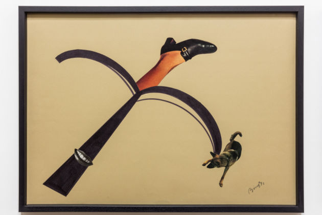 Tomaso Binga, Ritratto analogico (La guardia del corpo), 1972, collage e pennarello su carta, cm 50 x 70, Galleria Tiziana Di Caro, Napoli