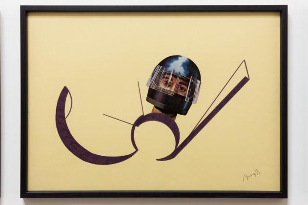Tomaso Binga, Ritratto analogico (L'astronauta), 1972, collage e pennarello su carta, cm 50 x 70, Galleria Tiziana Di Caro, Napoli