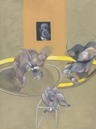 Francis Bacon (1909 - 1992) Three Figures and Portrait 1975 Oil paint and pastel on canvas 198.1 x 147.3 cm Tate: Purchased 1977 © Tate, London 2017 © The Estate of Francis Bacon. All rights reserved. DACS/VEGAP, Málaga, 2017.
