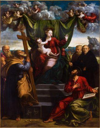 Giovanni Luteri detto Dosso Dossi (Ferrara, 1489 circa-1542) Battista Dossi (Ferrara, 1497 circa-1548) Madonna con il Bambino e Santi quarto decennio del xvi secolo