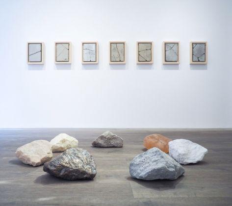 Andrea Francolino, 7 meraviglie del mondo moderno, 2013 (a parete) e A-Biotic, 2016 (a terra). Installation view at Kristin Hjelleghjerde Gallery, Londra 2016