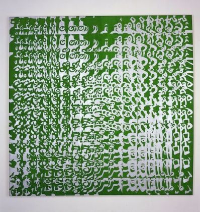 Carla Accardi, Moltiplicazione verdeargento,1964, caseina su tela. Castello di Rivoli