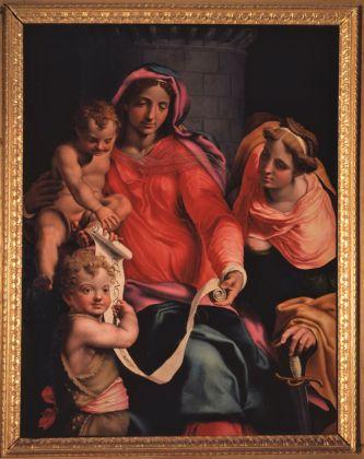 Daniele da Volterra, Madonna con il Bambino, san Giovannino e santa Barbara, olio su tavola, cm 131.6 x 100.4, Collezione privata