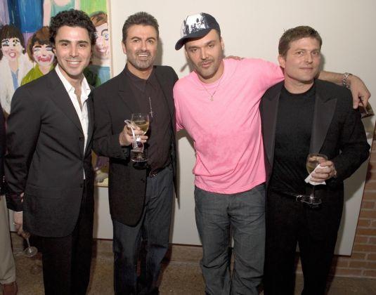 Filippo Tattoni-Marcozzi, George Michael, David LaChapelle e Kenny Goss all'opening della Goss Gallery a Dallas nel 2005