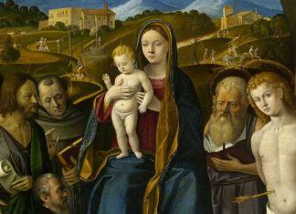 Girolamo da Santacroce (Bergamo, circa 1503-Venezia, 1556) Madonna con il Bambino, quattro Santi e un donatore secondo decennio del xvi secolo Olio su tavola, cm. 31x40.5 Rovigo, Pinacoteca dell'Accademia dei Concord