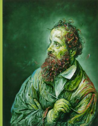 Glenn Brown, Abstract Composition No.1, 2013, olio su pannello, 121 x 93.75 cm