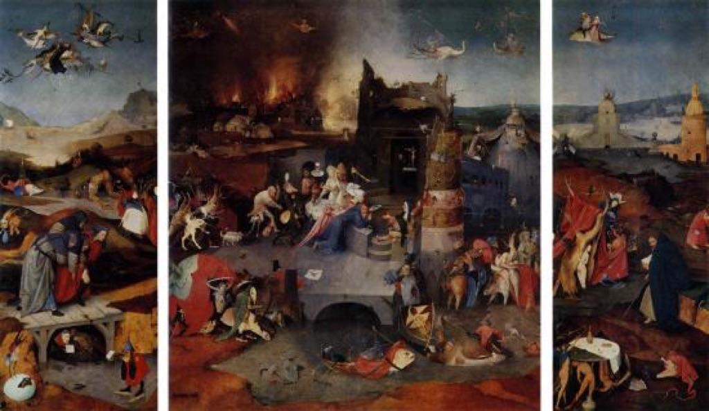 Hieronymus Bosch, Trittico delle Tentazioni di sant'Antonio, 1501 ca.. Museu Nacional de Arte Antiga, Lisbona
