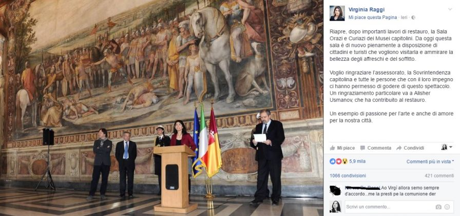 Il post di Virginia Raggi per celebrare l'affresco restaurato