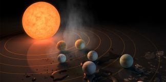 Illustrazione per il sistema Trappist-1 by Caltech for Nasa