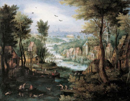 Jan Brueghel il Vecchio, Paesaggio fluviale con bagnanti, 1595-1600 ca.. Collezione privata