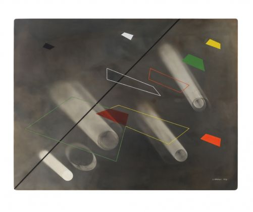 Luigi Veronesi, Diagonale n.3, 1938, olio, tempera e fotogramma su tavola, 47,5x62,5 cm. Courtesy Galleria 10 A.M. Art, Milano