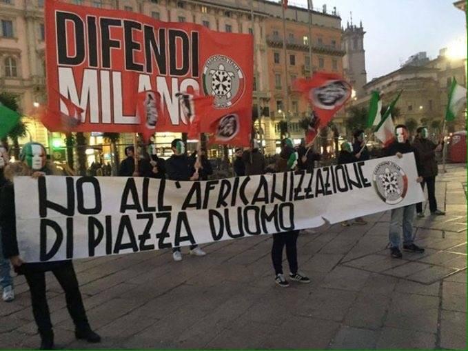 Manifestazione di Casapound contro le palme a Milano