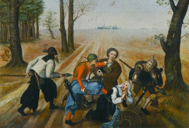 Marten van Cleve, Coppia di contadini assalita dai briganti, 1570-1577 ca.. Collezione privata